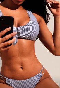 Swim - Navy White Pinstripe Bikini